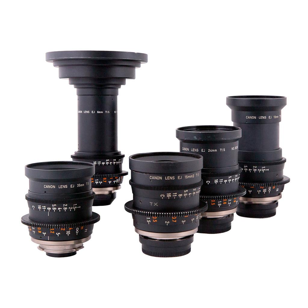SET Canon Lenses EJ T1.5 6,10,15,24,35mm B4-mount